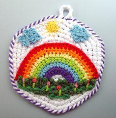 OMG I totally want this! Crochet Rainbow Pot Holder by meekssandygirl.deviantart.com on @deviantART
