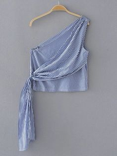 SheIn offers Oblique Shoulder Vertical Striped Top & more to fit your fashionable needs. Crop Top Outfits, Dress Outfits, Cute Outfits, Fashion Outfits, Baby Shirts, Cute Shirts, Blouse Styles, Blouse Designs, Diy Clothes