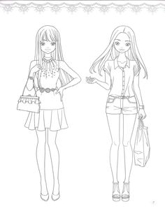Fashion Coloring Page. source: preview.kyobobook.co.kr. 소녀룩 패션코디 컬러링북 - 인터넷교보문고 Colouring Pages, Coloring Books, Fashion Blog Names, Fashion Figure Drawing, Figure Poses, Girl Sketch, Fashion Design Sketches, Digi Stamps, Anime Outfits
