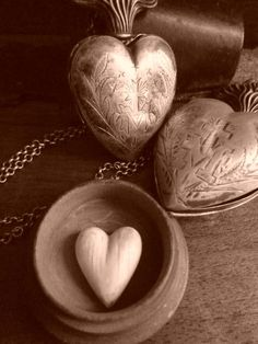 Antique French heart charms