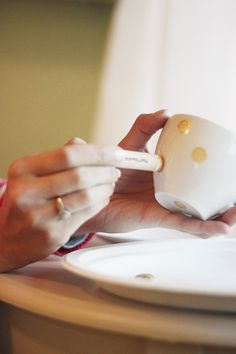 DIY Polka Dot Tea cup or you could do it on pretty much any glass item that will fit in the oven