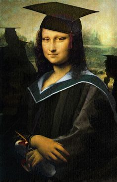 Mona Graduate - Mona Lisa parody by Real Mona Lisa, Mona Lisa Smile, Monet, Le Sourire De Mona Lisa, Mona Lisa Parody, K Wallpaper, Famous Artwork, American Gothic, Montage Photo
