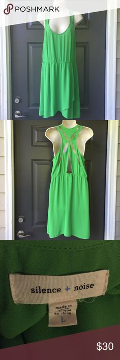 URBAN OUTFITTERS Silence + Noise Green Dress Excellent used condition. Elastic waist. Slits on shoulders and cut out back. 100% polyester. Urban Outfitters Dresses