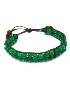 Love Hearts and Crosses - Leather Beaded Green Agate Friendship Bracelet - Shop Jewellery - Quirky Fashion Jewellery and Accessories