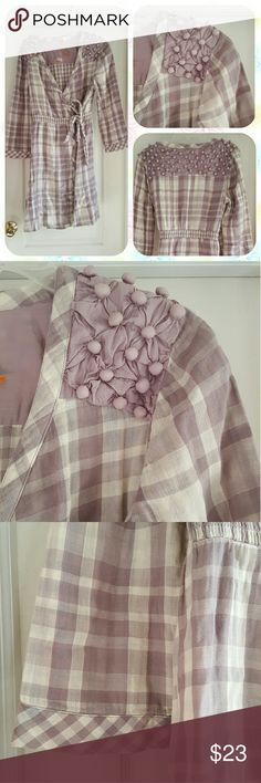 Anthropologie Checks and Plaids Robe What a pretty piece by Saturday Sunday! This lavender beauty features a mix of checks and plaids, little gathered bobbles on the shoulders and back, cuffed sleeves, a cinched waist, and pockets! Ties around the right side, then crosses over and ties again on the left.  Size large. Excellent condition. Anthropologie Intimates & Sleepwear Robes