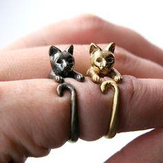Hugging Cat Ring. Adjustable Cat Ring. Cat Wrap Ring. Hancarved Cat Ring. Animal Ring. Feline Ring. Birth Year Ring.