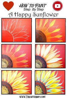 How to Paint a Sunflower step by step in Acrylic on Canvas by The Art Sherpa! Are YOU ready to Enjoy this Beginners step by step learn how to paint in this full acrylic art lesson! Check out our Free… Simple Canvas Paintings, Easy Canvas Art, Easy Canvas Painting, Trippy Painting, Kids Canvas, Painting Abstract, Acrylic Paint On Canvas, How To Paint Canvas, Easy Acrylic Paintings