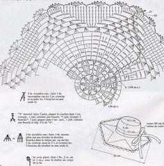 Clic sur la grille pour l'agrandir Crochet Doily Diagram, Filet Crochet, Crochet Doilies, Crochet Flowers, Crochet Hats, Sombrero A Crochet, Projects To Try, Miniatures, Applications