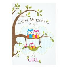 "Baby Girl Shower Invitation - Owl Family 5"" X 7"" Invitation Card"