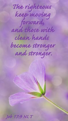 Job (NLT) - The righteous keep moving forward, and those with clean hands become stronger and stronger. Bible Scriptures, Bible Quotes, Scripture Verses, Faith Quotes, Christian Life, Christian Quotes, Job Bible Study, Book Of Job, Spiritual Quotes