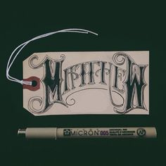 Matthew gift tag, name, graphic, lettering, bold, scroll, swash