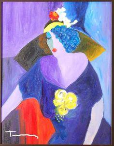 "Itzchak Tarkay ""Untitled"" Original Acrylic on canvas"