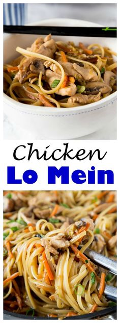 CHICKEN LO MEIN – MAKE YOUR OWN TAKE OUT AT HOME WITH THIS SUPER EASY CHINESE CHICKEN LO MEIN RECIPE. FULL OF LOTS OF VEGGIES, 20 MINUTES, AND DINNER IS DONE!