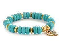 Turquoise Howlite and Gold Leaf Charm Boho Bracelet / Boheme Beaded Stretch Bracelet / Statement Bracelet / Stacking Bracelet