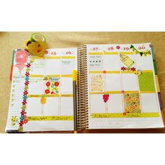 A yellow bee set up for the week for my Erin Condren life planner 2014