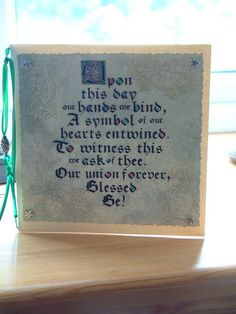 Handfasting Poem card.  Pagan Blessing.