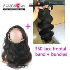 7Aperuvian Hair Weave Bundles With 360 Lace Frontal Band Closure 3Pcs Hair Wefts