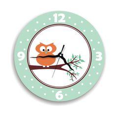 Cute owl wall clock kid's decor nursery wall by ArtisEverything