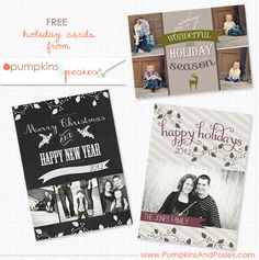 FREE Holiday Card Templates from Pumpkins & Posies by Catherine Auger!