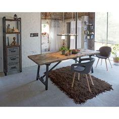 Esstisch, Craft, Tischplatte Kieferholz / Tischbeine : Metall schwarz Vorderansicht