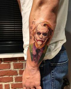 Low Poly The Joker tattoo on the left forearm. Joker Tattoos, Batman Tattoo, Time Tattoos, Inner Forearm Tattoo, Forearm Tattoos, Body Art Tattoos, Sleeve Tattoos, Dc Tattoo, Comic Tattoo