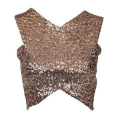 Yoins Sexy Glitter Cross Body-con Crop ($14) ❤ liked on Polyvore featuring tops, sexy crop top, embellished tops, bodycon crop top, brown crop top and sexy tops