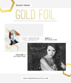 78a075cb894fe4 Gold Foil Photoshop Templates and Grad Cards