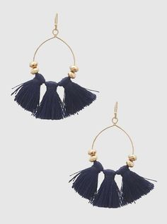 Tassel Earrings - Navy #bohochic #bohemian #navy #gold