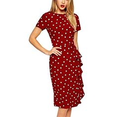 LUNAJANY Women's Rockabilly Vintage Polka Dot Pin up Swing Cocktail Party Dress