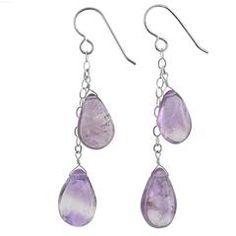 Lavender Amethyst Gemstones - 925 Sterling Silver - Long Handmade Earrings