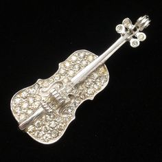Violin Brooch Pin Vintage Rhinestones Musical Instrument