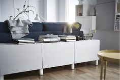 Small, Modular Storage Combinations Can Fit Almost Everywhere, Like Behind A Sofa. This (beautiful Besta Storage Ikea Living Room Storage, Furniture, Home Living Room, Home, Ikea, Storage Furniture Living Room, Sofa Storage, Home And Living, Side Table Decor