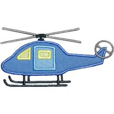 Helicopter Side View Applique by HappyApplique.com