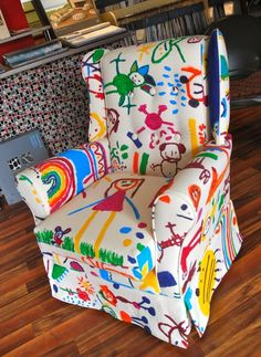 SO cute for a kid's room!  Buy this one, have your kids do it yourself, or use your kids' drawings to inspire you!