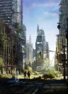 """Here's the cover for the french edition of """"Ghost Country"""" published by """"L'ATALANTE editions"""",the novel will be translated to """"Le pays fantome"""". Art Apocalypse, Apocalypse Landscape, Fantasy World, Fantasy Art, Post Apocalyptic City, Sf Wallpaper, Abandoned Cities, Environment Concept, Fantasy Landscape"""