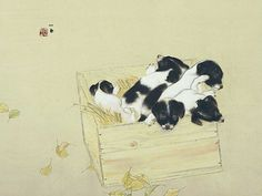 Puppies in a box, by Takeuchi Seiho.