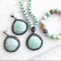 Bright Amazonite Necklace, Earrings and Bracelet Set with 925 Silver and Silk.