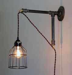 Industrial Style Wall Sconce - Iron pipe bracket with hanging light - metal bracket Hanging Lamp- Edison lamp with cage -hanging Edison Lamp