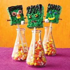 Krispy Frankenstein treats - http://www.landolakes.com/recipe/1743/crispy-frankenstein-treats