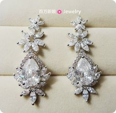 Exquisite flowers CZ Necklace Earrings Set Bridal Jewelry Wedding Jewelry wedding jewelry accessories gifts - Taobao