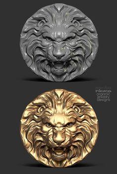 zbrush y joyeria zbrush and jewelry Zbrush, Sculpture Art, Sculptures, Arte Fashion, Modelos 3d, Lion Art, 3d Prints, Animal Heads, Lion Tattoo