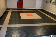What an original man cave flooring design. Awesome DIY installation in the garage. Re-pin and share if you want this flooring!
