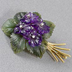 John Joseph Brooches Diy Jewelry, Vintage Jewelry, Jewellery, Cartier, Sweet Violets, Diamond Brooch, Gras, Gold Set, Flower Brooch
