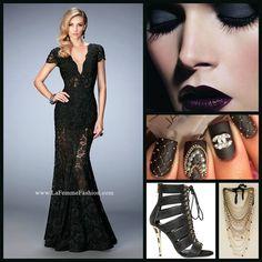 La Femme 22738 long prom dress - black prom dress - formal dress - evening dress - V neckline - V back - lace - rhinestone embellished - style inspiration - makeup inspiration - matte nails - black heels - layered necklaces