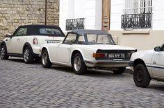 Cute white cars in Paris