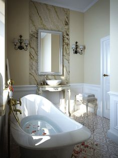 Rose Petals Floating, In A Half Filled White Bathtub, Antique Style Sink,
