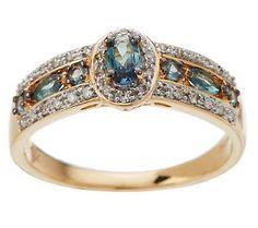 0.50 ct tw Alexandrite and 1/8 ct tw Diamond Band Ring, 14K