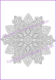 Adult coloring page MANDALA zendala PDF by ZentangleHouse on Etsy