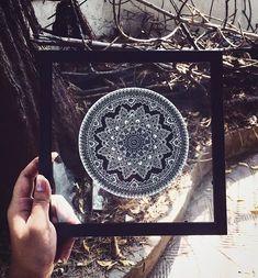 Framed Mandala on Glass