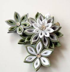 Kanzashi fabric flower hair clip. White grey and green by JuLVa